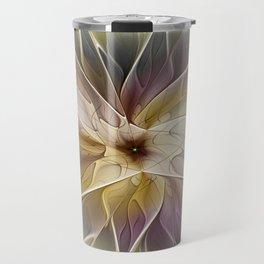 Floral Fantasy, Abstract Fractal Art Travel Mug