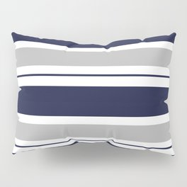 Navy Blue and Grey Stripe Pillow Sham