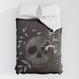 Floral Skull with mushrooms Comforters