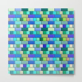 Sapphire Blue  Tiles Metal Print