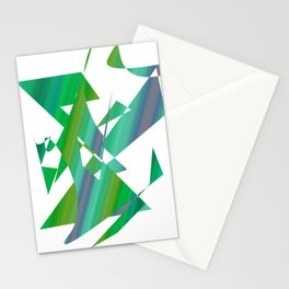 geometrical abstract shapes of green and blue Stationery Cards