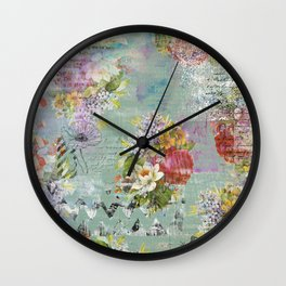 Grunged Florals on Green Wall Clock