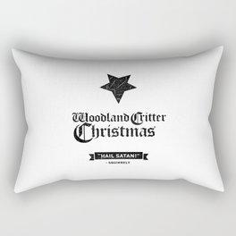 Woodland Critter Christmas Black Text Rectangular Pillow