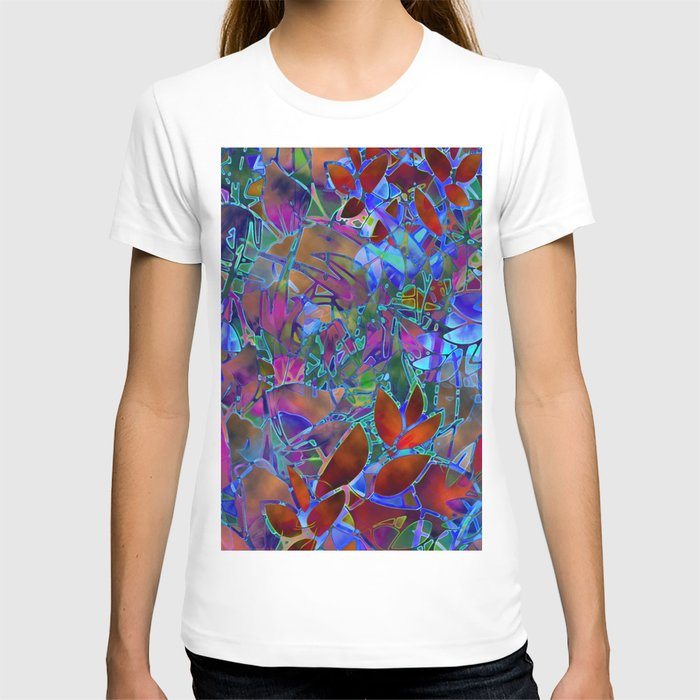 Floral Abstract Stained Glass G174 T-shirt