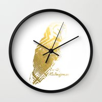 gold foil Wall Clocks featuring Gold Foil Owl  by RsDesigns