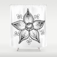henna Shower Curtains featuring Henna Flower by Ava Elise