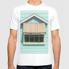 Summer cottage stripped canvas awning Mens Fitted Tee White MEDIUM