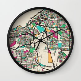 Colorful City Maps: Cleveland, Ohio Wall Clock