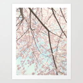 Vintage pink tree Art Print