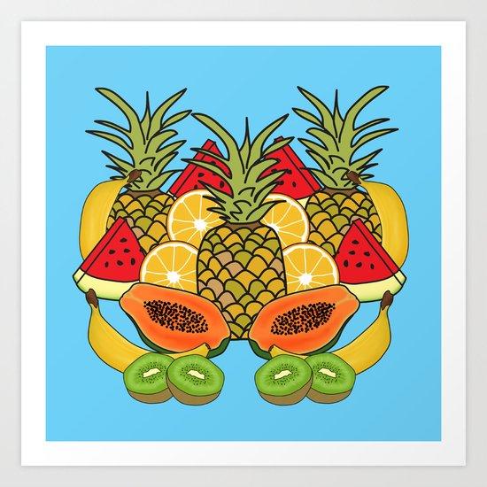 Turquoise Tropical Fruit Art Print