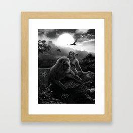VIII. Strength Tarot Card Illustration Framed Art Print