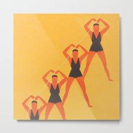 Swimmers on Beach, Geometric Vintage Art Metal Print
