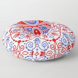 Sacred Lotus Mandala – Red & Blue Palette Floor Pillow