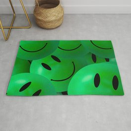 Fun Cool Happy green Smiley Faces Rug