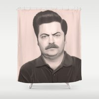 swanson Shower Curtains featuring Ron Swanson by Alexia Rose