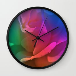 Painterly Rose Rainbow Wall Clock