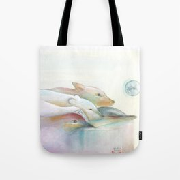 Four Animals being Friends Tote Bag