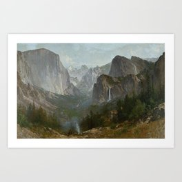 Indians at Campfire, Yosemite Valley, California Art Print