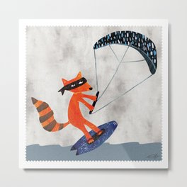 Kite Surfing Raccoon Bandit Metal Print