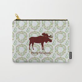 Winter Wreath Merry Christmas Red Buffalo Plaid Reindeer Carry-All Pouch