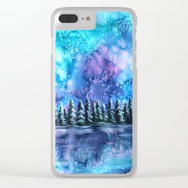 Watercolor Winter Pines under the Northern Lights Clear iPhone Case