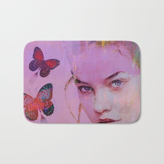 Isabelle and butterflies fork Bath Mat