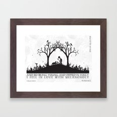 Edgar Allan Poe Black and White Illustrated Quote  Framed Art Print