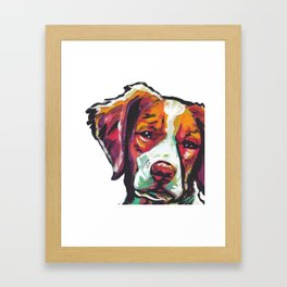 Fun Brittany Dog Portrait bright colorful Pop Art Painting by LEA Framed Art Print