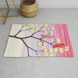 cardinals and dogwood blossoms Rug