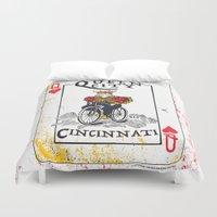 cincinnati Duvet Covers featuring Queen of Cincinnati Bike Print by Jeni Jenkins | Uncaged Bird Studio