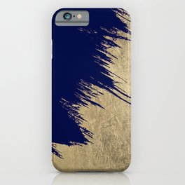 Navy blue abstract faux gold brushstrokes iPhone Case