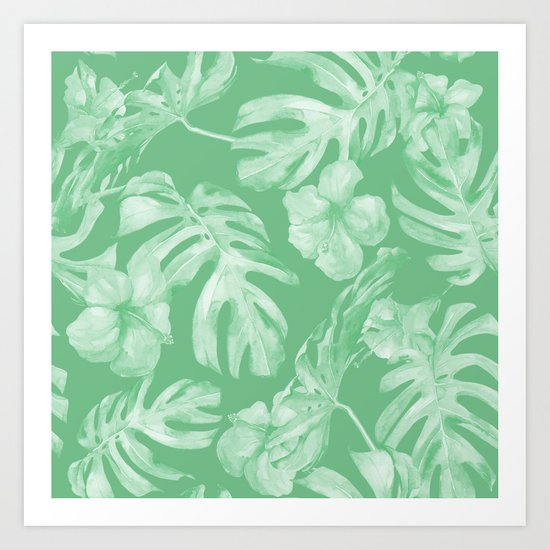 Tropical Palm Leaves Green Art Print