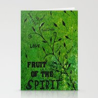 religious Stationery Cards featuring Faith Religious Art---Fruit of the Spirit---Bible Scripture Galations 5:22 by Saribelle rodriguez by Saribelle Inspirational Art