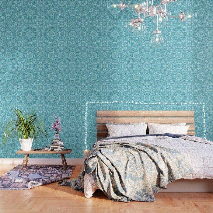 Caribbean Blue Mandala Wallpaper