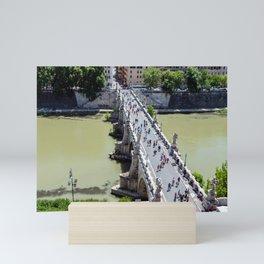 Top view of the Sant'Angelo bridge in Rome, Italy Mini Art Print