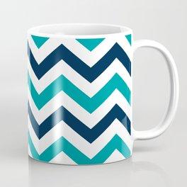 Teal, White & Navy Blue Chevron Pattern Coffee Mug