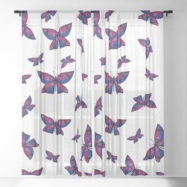Fly With Pride: Bisexual Flag Butterfly Sheer Curtain