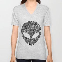 Alien Mushroom Mandala Unisex V-Neck