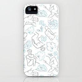 Flowing Figures (Blue) iPhone Case