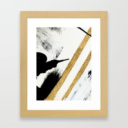 Armor [8]: a minimal abstract piece in black white and gold by Alyssa Hamilton Art Framed Art Print