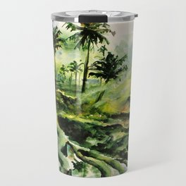 Sunny rice fields of Bali, Indonesia - Watercolor art Travel Mug