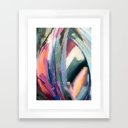 Eye of the Beholder [4]: a colorful, vibrant abstract in purples, blues, orange, pink, and gold Framed Art Print