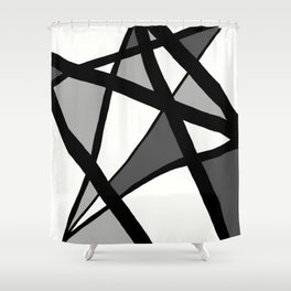 Geometric Line Abstract - Black Gray White Shower Curtain