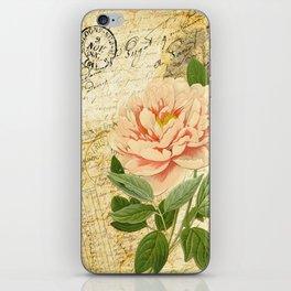 Vintage Pink Peony & French Ephemera Art Print iPhone Skin