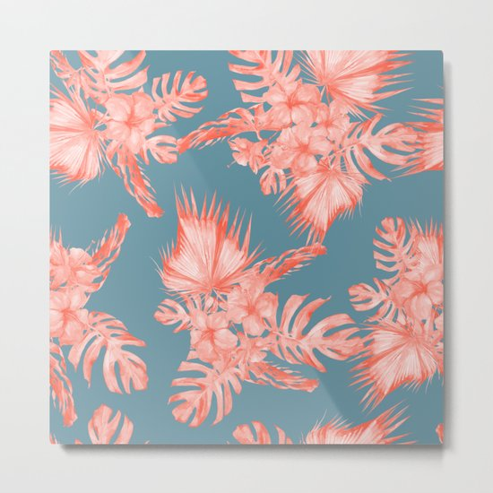 Dreaming of Hawaii Pale Coral on Teal Blue Metal Print