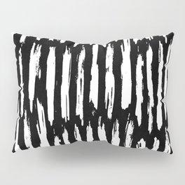 Vertical Dash White on Black Paint Stripes Pillow Sham