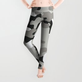 Grey Black White Camouflage Leggings