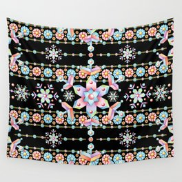 Folkloric Snowflakes Wall Tapestry