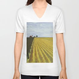 Alone, Farm, Acrylic on Canvas Unisex V-Neck