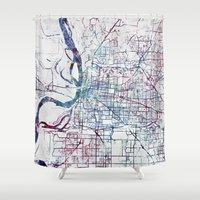 memphis Shower Curtains featuring Memphis map by MapMapMaps.Watercolors